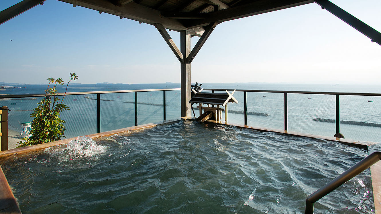 Stunning views from the open-air baths overlooking Ise Bay